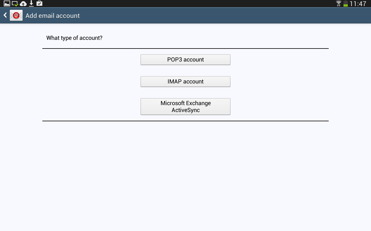how to set up shaw email on galaxy tab 3